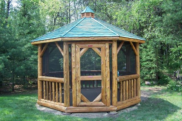 12' Log Gazebo with Screen Room