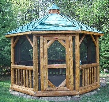 Heartland gazebos cedar crafted gazebos and log gazebos for Rustic gazebo kits