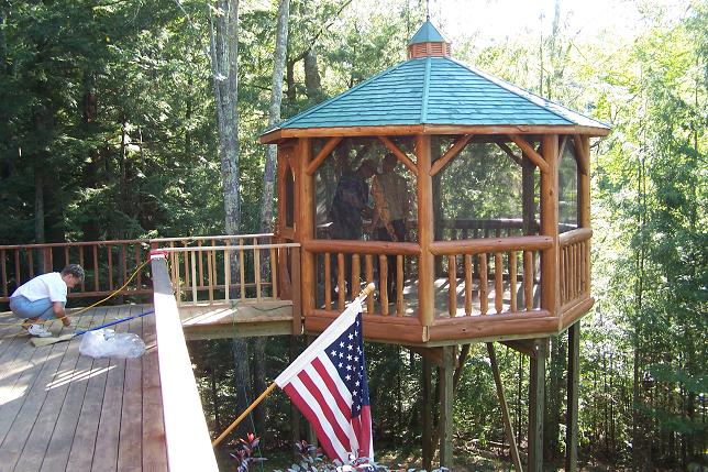 12' Log Gazebo Raised on Deck