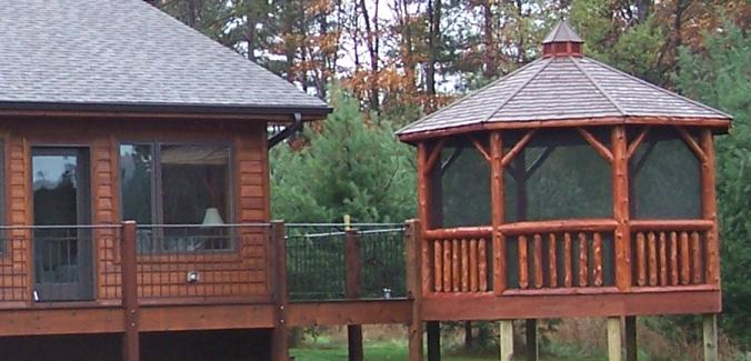12' Log Gazebo with matching stain